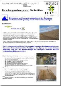 Entwicklung von Erosionsschutzmatten mit der Eignung zur oberbodenlosen Begrünung von Erd- und Felsböschungen