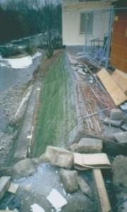 Bau der Steilböschung mit Brückenauflage (Freital in Sachsen)